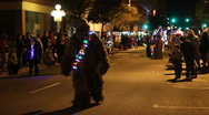 Stock Video Footage of Festival of lights parade - fun and crazy people Chewbacca - 16