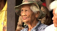 Old Asia Woman Wearing Hat In The Slums Stock Footage