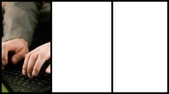 Typing on laptop keyboard, montage - stock footage