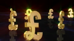 Pound Sterling 3D loopable background Stock Footage