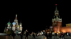 Kremlin and temple on Red square in Moscow - timelapse Stock Footage