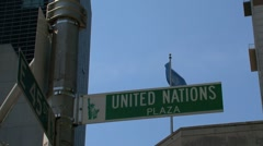 United Nations flag and sign New York City Stock Footage