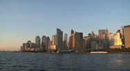 Stock Video Footage of New York City Skyline sunset