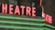 Stock Video Footage of Neon theater marquee 01