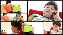 Young boy with laptop and cellphone, montage  - stock footage