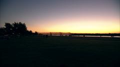 bridge at sunset - stock footage