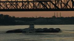 barge under bridge - stock footage