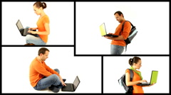 Young male and female students with laptop isolated, montage  - stock footage