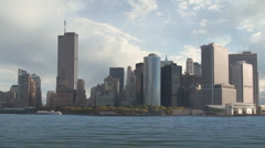 Lower Manhattan with Twin Towers of the World Trade Center - stock footage