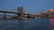 Stock Video Footage of Brooklyn bridge, NYC evening