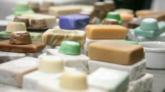 Homemade soap at Farmers Market - stock footage