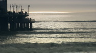 Sunset boardwalk cu Stock Footage