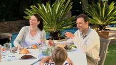 Big family having lunch in the garden Stock Footage