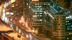 Traffic on third hoist ring near business center North Tower in Moscow Stock Footage