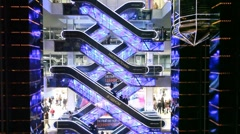 People on escalators in Evropeisky Mall in Moscow, Russia. Stock Footage
