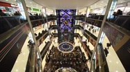 Stock Video Footage of Top view of interior of Evropeisky Mall in Moscow, Russia.