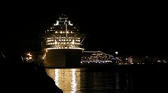 Stock Video Footage of Puerto Rico - Beautiful Cruise Ships at Night in Old San Juan before departure