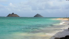 Shore line of Lanikai Bay  - stock footage