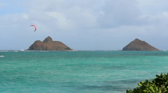 Kite surfer lanikai Bay with Twin Islands in Background Stock Footage