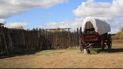 Old Fort Bridger & Wagon Stock Footage