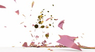 Stock Video Footage of Falling pink piggy bank breaking into pieces