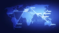 WORLD MAP global communication Stock Footage