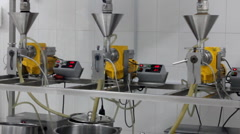 Extraction of oils in a factory Stock Footage