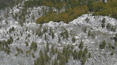 Aerial view: Flight over the rocky mountain and forest Stock Footage