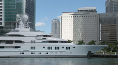 Mega yacht in Miami - stock footage