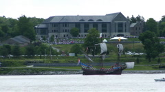 Colonial era sailing ship, passes Marist College Stock Footage