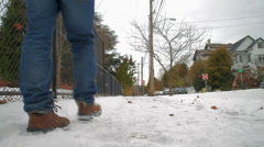 Walking through snow 03 - stock footage