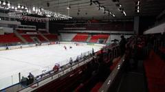 Beginning junior hockey match Spartak-Almaz of MHL in sports palace Sokolniki Stock Footage