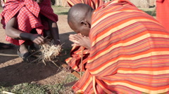 Massai make fire P1 Stock Footage