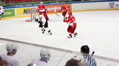 Spartak goalkeeper situation permits on junior hockey match Spartak-Almaz of MHL - stock footage