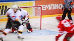 Fighting at Almaz net on junior hockey match Spartak-Almaz of MHL Stock Footage