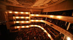 People leave on break in operetta Graph Monte Cristo at Moscow Operetta Theater - stock footage