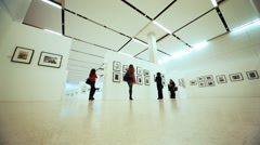 People at exhibition to devoted Nikita Khruschev in Moscow House of Photography - stock footage