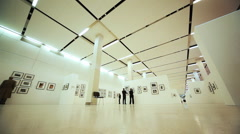 Hall with photos of exhibition to devoted Nikita Khruschev in Moscow House Stock Footage