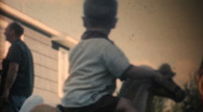 Boy playing on a rocking horse, circa 1961 Stock Footage