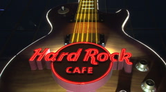 Hard rock cafe sign Las Vegas at night - stock footage