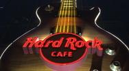 Stock Video Footage of Hard rock cafe sign Las Vegas at night