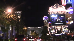 Vegas Strip night POV driving shot MIRAGE - HD Stock Footage