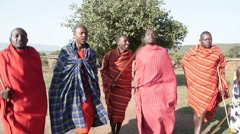 Massai man dance P1 Stock Footage