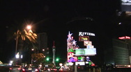 Stock Video Footage of Vegas Strip POV night driving shot RIVIERA - HD