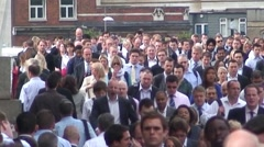 Office Workers Crossing London Bridge Stock Footage