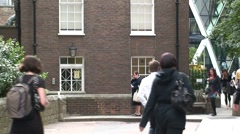 St Mary Axe Gherkin Tower behind House Stock Footage