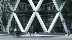 St Mary Axe Gherkin Tower in London Stock Footage