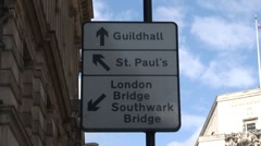 St Paul's Cathedral Road Sign Stock Footage