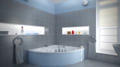 Gray/Blue Bathroom - stock footage