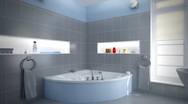 Stock Video Footage of Gray/Blue Bathroom